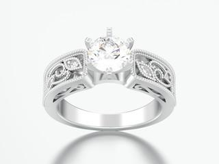 3D illustration silver engagement wedding decorative ornament diamond ring
