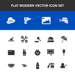 Modern, simple vector icon set with picture, spacecraft, weather, judge, information, photo, safety, lifebuoy, repair, parasol, technology, paper, buoy, ufo, space, document, child, hat, health icons