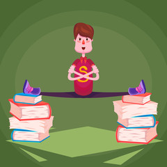 A sports schoolboy sits on a string on stacks of books on a green background