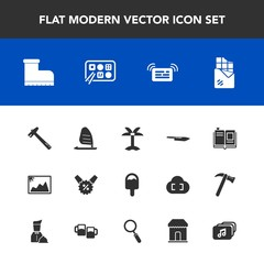 Modern, simple vector icon set with sale, frame, picture, image, wind, tropical, summer, surf, food, tool, spanner, ocean, sport, wrench, chocolate, dessert, hammer, restaurant, nature, message icons