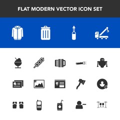 Modern, simple vector icon set with can, truck, picture, android, equipment, vehicle, clothing, chart, image, barbecue, medicine, futuristic, tool, music, menu, robot, laboratory, trash, graph icons