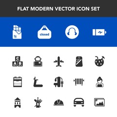 Modern, simple vector icon set with sign, oven, power, battery, exercise, fitness, kitchen, child, cocktail, airplane, picture, treadmill, store, travel, chocolate, seasoning, juice, business icons