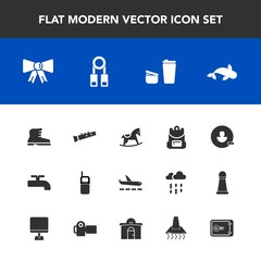 Modern, simple vector icon set with sugar, fish, school, backpack, tie, cup, telephone, cute, white, crane, old, suit, bag, airport, mobile, remove, style, musical, baby, travel, phone, child icons