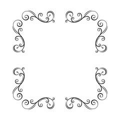 Border, corners, vignettes vintage elements set. Swirls, decorative filigree pattern. Ornamental scroll frame. Page decorations, Wedding invitation, Greeting card design. Vector.