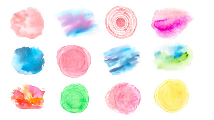 Set of watercolor background texture on white, hand painted