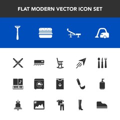 Modern, simple vector icon set with sign, hamburger, weapon, plane, fork, conditioning, sound, note, clothing, furniture, collection, flight, web, japanese, housework, air, samurai, fitness, fly icons