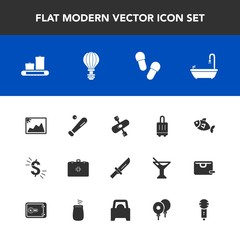 Modern, simple vector icon set with kayak, image, parachute, equipment, jump, cutlery, sign, knife, picture, fork, league, dinner, fish, white, medical, ball, footwear, emergency, photo, seafood icons