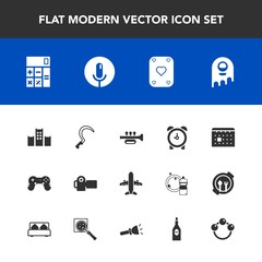 Modern, simple vector icon set with day, timetable, camera, bed, sickle, monster, alarm, photographer, accounting, sound, calendar, time, baby, vacation, schedule, alien, microphone, voice, toy icons