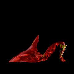 Flower mule, red against plain background