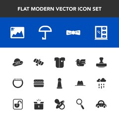 Modern, simple vector icon set with mark, orbit, frame, bird, new, rain, photo, shirt, technology, furniture, hamburger, chess, animal, king, white, gadget, tie, wildlife, home, car, strategy icons