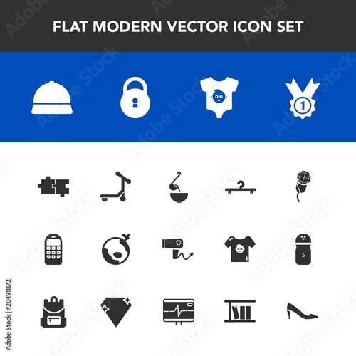 Modern, simple vector icon set with care, world, music, dinner