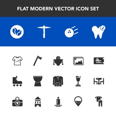 Modern, simple vector icon set with shirt, health, cyborg, android, leisure, picture, clothes, dentist, sport, wrench, template, spanner, music, kid, percussion, baby, discount, clothing, photo icons