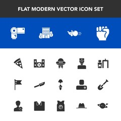 Modern, simple vector icon set with restaurant, fork, machine, cutlery, finger, photography, doctor, spaceship, ball, spacecraft, ice, scan, medical, nation, food, lunch, estate, human, hand icons