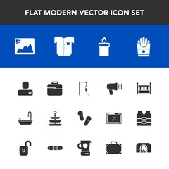 Modern, simple vector icon set with decoration, fire, snack, food, french, bathroom, photo, business, frame, baby, human, loudspeaker, wax, image, white, fireplace, plate, child, communication icons