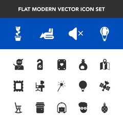 Modern, simple vector icon set with weapon, office, parachute, olive, map, pin, sound, mute, hotel, room, work, green, food, border, mediterranean, table, business, wand, desk, healthy, pot, sky icons