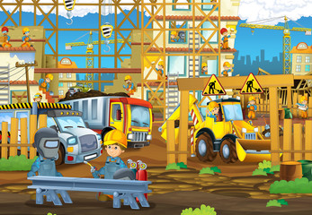 cartoon scene with men working doing industrial jobs - illustration for children