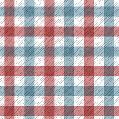 Red and blue tartan plaid fabric on white seamless pattern, vector
