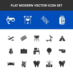 Modern, simple vector icon set with grill, camp, bbq, scooter, pie, desk, work, table, sport, bonfire, photography, plane, transport, scuba, travel, shape, outdoor, cake, meat, airplane, cooking icons