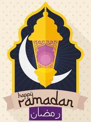 Arabic Design with Fanous, Moon and Scroll for Ramadan Celebration, Vector Illustration