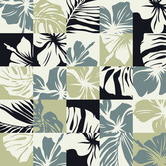 Basic CMYTropical leaves and hibiscus flowers vector abstract patchwork seamless pattern
