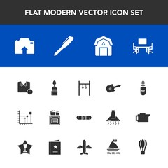 Modern, simple vector icon set with guitar, music, medicine, sport, work, food, white, modern, clothes, fashion, musical, stationery, dessert, barn, staple, data, health, parachute, oven, black icons