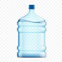 Bottle with clean, fresh water on a transparent background