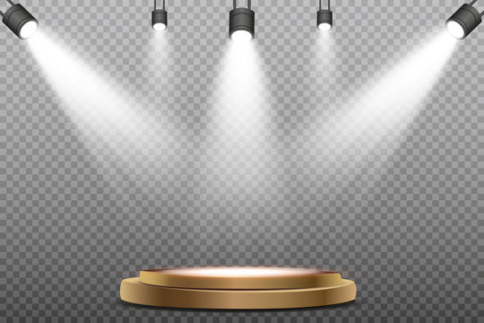 Round podium, pedestal or platform illuminated. Stage with scenic lights