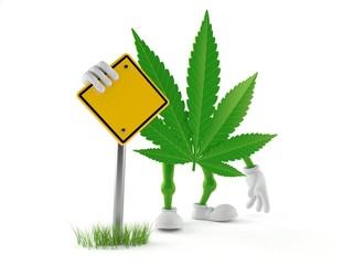 Cannabis character with blank road sign