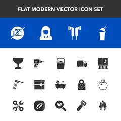 Modern, simple vector icon set with object, drink, beverage, lady, girl, box, baby, camera, search, gift, picture, shower, photo, sound, hygiene, musical, work, rocket, music, bath, child, craft icons