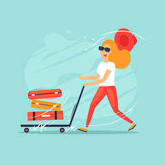 Woman running with a suitcase cart, vacation, summer, adventure. Time to travel. Flat design vector illustration.