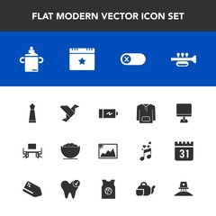 Modern, simple vector icon set with clothing, power, desk, switch, chess, plastic, business, dish, table, bottle, creative, origami, photo, milk, trumpet, work, nutrition, battery, paper, white icons