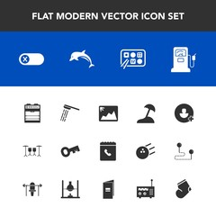 Modern, simple vector icon set with station, dolphin, travel, switch, phone, key, shower, wildlife, chinese, book, add, hygiene, turn, fuel, nature, island, picture, deactivate, bathroom, sea icons