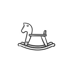 Rocking horse swing hand drawn outline doodle icon. Baby toy horse to rock and ride vector sketch illustration for print, web, mobile and infographics isolated on white background.