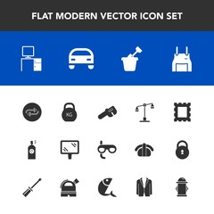 Modern, simple vector icon set with frame, street, replacement, water, scuba, weight, substitute, car, uniform, sign, law, sport, play, chef, sandbox, replace, pinafore, banner, judge, cook icons