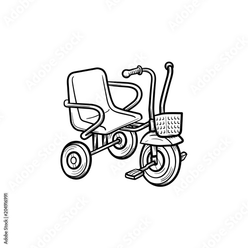 Tricycle Hand Drawn Outline Doodle Icon Tricycle Or Baby Bicycle As