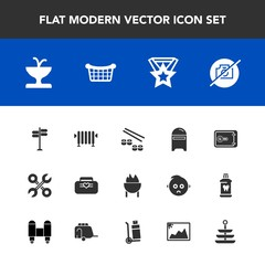 Modern, simple vector icon set with fountain, bank, industrial, boiler, hot, safe, fish, money, street, service, architecture, home, envelope, mail, direction, award, seafood, picture, heater icons