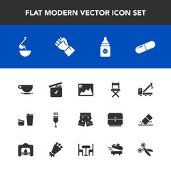 Modern, simple vector icon set with tow, wear, car, finger, bear, seat, template, truck, nutrition, accident, human, frame, photo, cafe, concept, image, pill, cup, glass, soup, medical, coffee icons