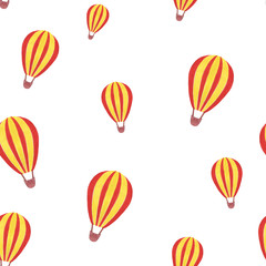 Watercolor pattern of handmade with a balloon, isolated on white background.