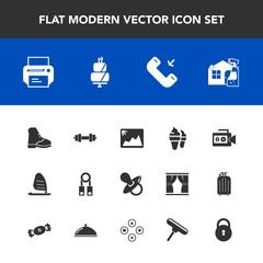 Modern, simple vector icon set with infant, dessert, cake, wind, printer, cream, photo, call, child, print, spray, image, baby, lock, sport, film, gym, cleaner, ice, phone, presentation, sweet icons