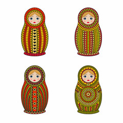 Matrioshka or nesting dolls set isolated on white background. Babushka with colored ornamental patterns. Vector illustration.