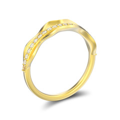 3D illustration isolated gold decorative diamond ring with shadow