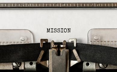 Text Mission typed on retro typewriter