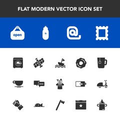 Modern, simple vector icon set with concept, cup, open, bubble, cafe, frame, shop, station, message, doughnut, housework, communication, mail, machine, dessert, speech, tea, nautical, border icons