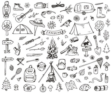 Set of forest camping icons