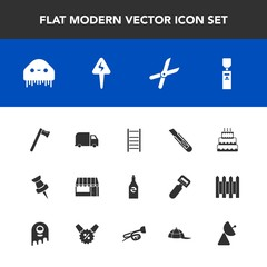 Modern, simple vector icon set with sweet, space, signal, pruning, spanner, clothing, water, beverage, monster, cap, gardening, delivery, bottle, cut, drink, sign, ladder, energy, dessert, tool icons