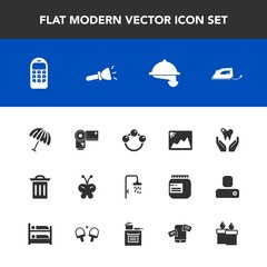 Modern, simple vector icon set with work, beauty, waiter, butterfly, infant, garbage, bath, mobile, healthy, toy, child, shower, communication, dentist, rattle, photo, camera, photography, iron icons