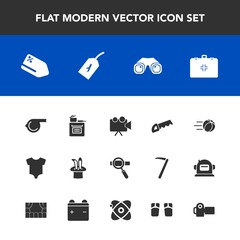 Modern, simple vector icon set with laptop, referee, modern, medical, football, discount, photography, binocular, tag, whistle, game, magic, research, sale, cooking, ball, photographer, clothes icons