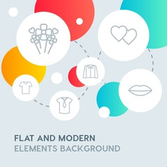 clothes, valentine, beauty and cosmetics outline vector icons and elements background with circle bubbles networks.Multipurpose use on websites, presentations, brochures and more