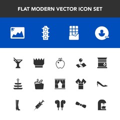 Modern, simple vector icon set with cocktail, fruit, map, coffee, curtain, location, apple, food, luxury, pin, interior, lamp, royal, dessert, room, plate, file, dinner, light, sweet, king, home icons