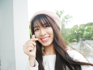 Beautiful woman smiling for take a selfie photo for portrait close up.